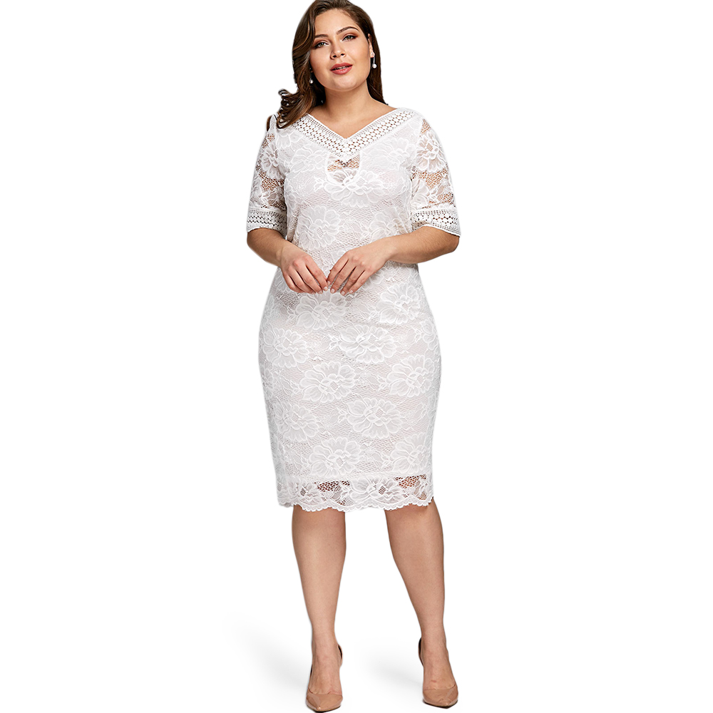 Lortalen Plus Size V Neck Half Sleeve Lace Dress Bodycon 2019 Women Fashion Sexy Party Ladies Dresses Big Size Vestido