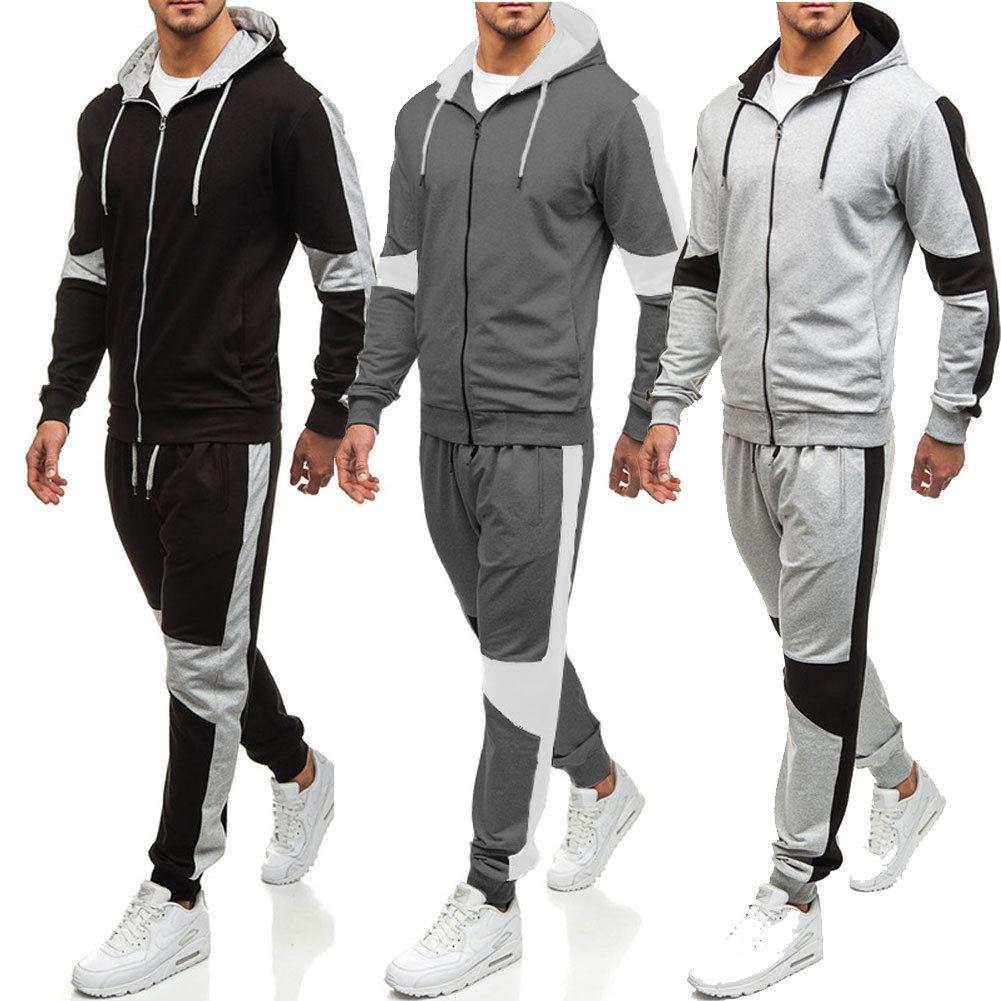 Men Tracksuit One Piece Jumpsuits Hoodie Coat Pants Sports Sweat Suit Set Romper