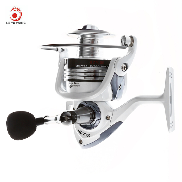 LIEYUWANG 13+1BB 5.1:1 Gear Ratio Full Metal Spinning Fishing Reel Exchangeable Handle Automatic Folding for Casting Line Reels