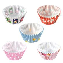 100PCS DIY Baking Muffin Cake Paper Cup Oil-Proof Chocolate Tray Egg Tart Holder Simple Printing Tools High Quality