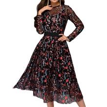 Plus Size Dress Women's Floral Print Elegant Party Dress Formal Boho Sheer Mesh Long Party O-Neck A-Line Dresses Gauze Top Dress plus size floral embroidered mesh top