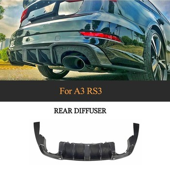 Car Rear Bumper Diffuser Lip Spoiler for Audi RS3 Sedan 4-Door 2017 2018 Carbon Fiber / Forged Composite Car Sticker Spoiler