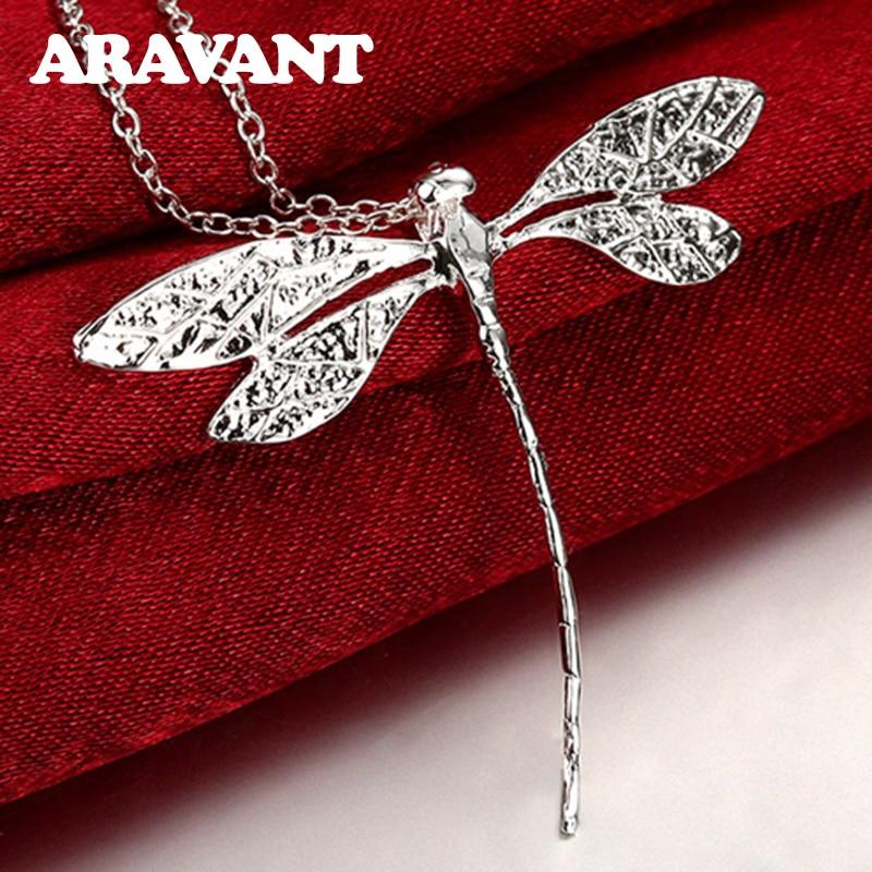 Nouvelle mode 925 argent bijoux longue libellule pendentifs colliers chaînes pour les femmes saint valentin cadeaux
