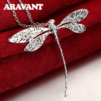 New Fashion 925 Silver Jewelry Long Dragonfly Pendants Necklaces Chains For Women Valentine'S Day Gifts anslow fashion jewelry new arrivals items dragonfly antique silver plated leather earring for woman mothe s day gift low0095ae