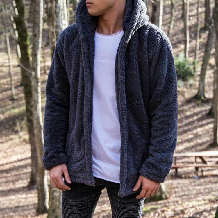 Hooded Jacket Sweater Warm Fleece Men's Winter Casual Fashion Thick Zipper Fur Faux-Fur