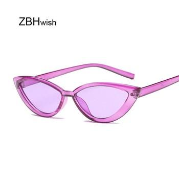 Cukierkowe kolory okulary przeciwsłoneczne dla kobiet okulary przeciwsłoneczne kocie oczy marka projektant mody okulary damskie fajne UV400 Gafas De Sol tanie i dobre opinie ZBHWISH WOMEN Cat eye Dla dorosłych Z tworzywa sztucznego Lustro Antyrefleksyjną 45mm Cr-39 50mm