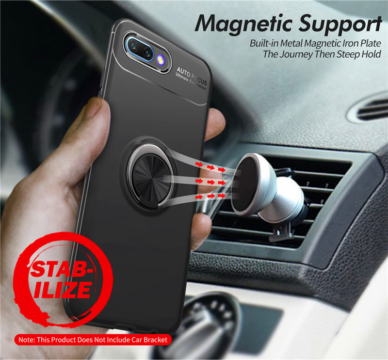 Huawei P Smart 2019 Cover Silicon Case For Huawei Honor 10 Honor10 Lite Nova 3i 3 3E Soft TPU Case with Magnetic Car Holder Ring in Fitted Cases from Cellphones Telecommunications