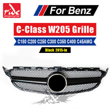W205 Without Emblem Sport Style Black Front Grille ABS Material For Benz W205 C-class C180 C200 C250 C63AMG Front Bumper 2015-in abs material blcak color trd style front grille for 2015 2017 hilux revo