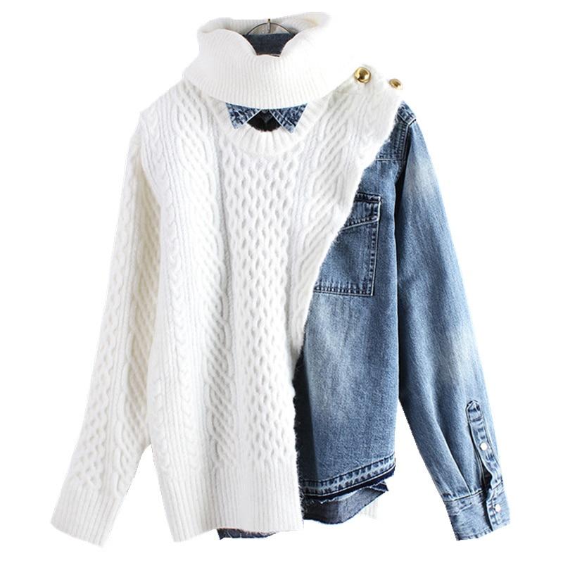 LANMREM 2019 ใหม่ฤดูใบไม้ผลิและฤดูหนาวแฟชั่นเสื้อผ้าผู้หญิงเสื้อคอเต่าแขนยาวถัก Patchwork Denim เสื้อกันหนาว WD36105-ใน เสื้อคลุมสวมศีรษะ จาก เสื้อผ้าสตรี บน   1