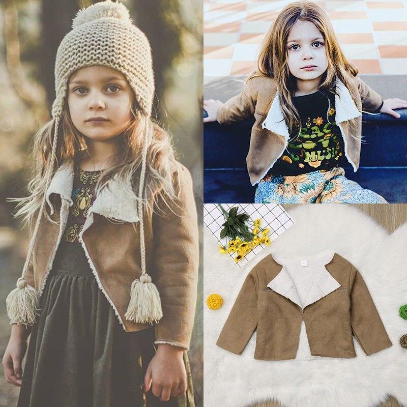 2018 Mode Warme Winter Kinder Baby Mädchen Faux Lämmer Wolle Jacke Mantel Mädchen Lange Hülse Drehen-unten Feste Outwear Kinder Strickjacke 1-6y Warmes Lob Von Kunden Zu Gewinnen
