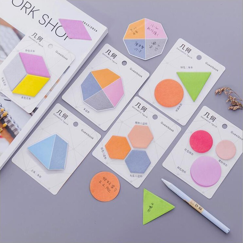 Colored Geometric Pattern Self-Adhesive Memo Pad Sticky Notes Sticker Planner Office Sticker Stationery And School Supplies 1PCS