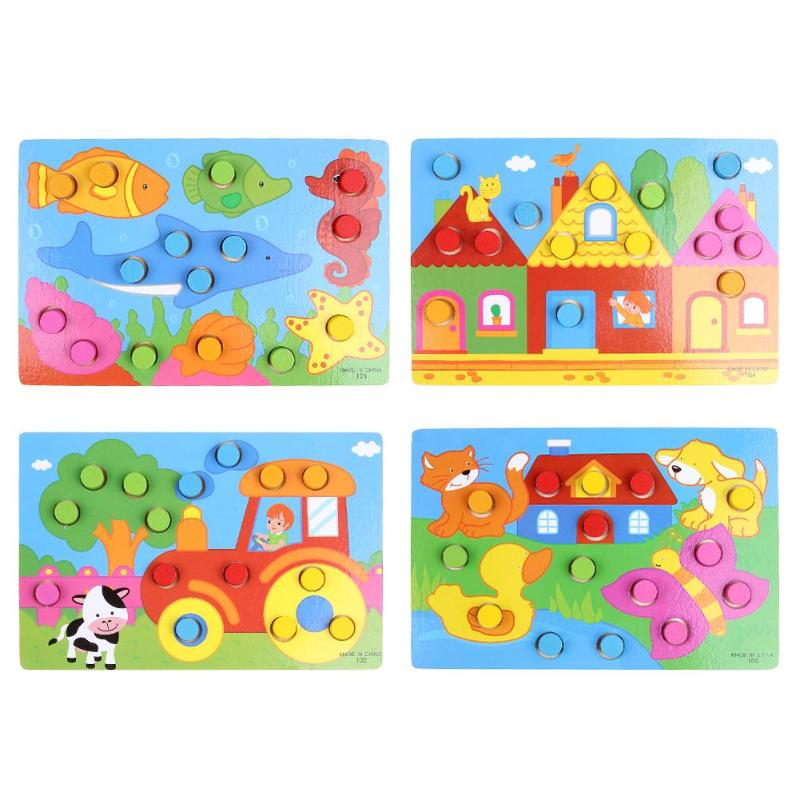 Friendly Montessori Materials Color Shape Matching Puzzle For Toddlers Montessori Educational Wooden Toys For Children 3d Puzzles Babies Learning & Education