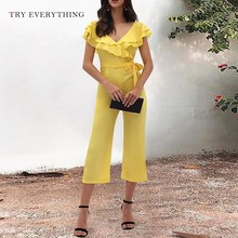 Yellow Sexy Jumpsuit Women Summer 2019 Fashion Ruffles Slim Casual Female Off Shoulder Belt Pants For