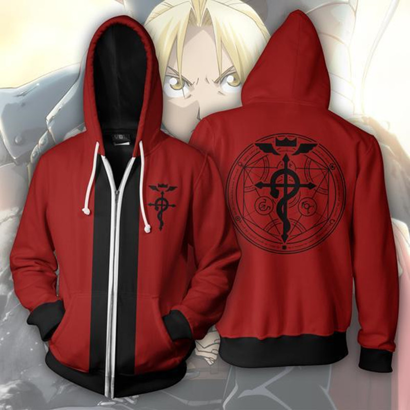 Japan Anime Fullmetal Alchemist Hoodie Zipper Jacket Hooded Sweatshirt Casual Coat Coats Costumes Women Men Jacket