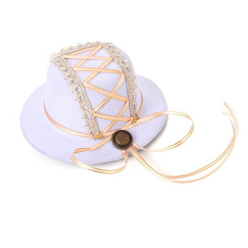 Gothic Lolita Hair Accessories Ribbon White Mini Top Hat Lolita Hats Accessories For Party  1