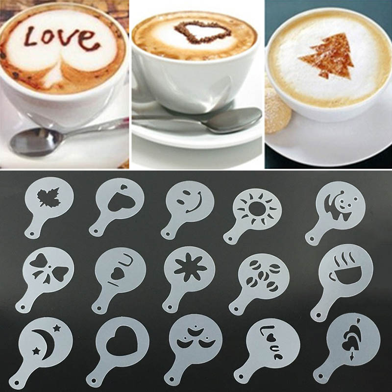 16Pcs Coffee Printing Flower Model Coffee Decor Tools Coffee Foam Spray Template Plastic Garland Mold Cafe Accessories