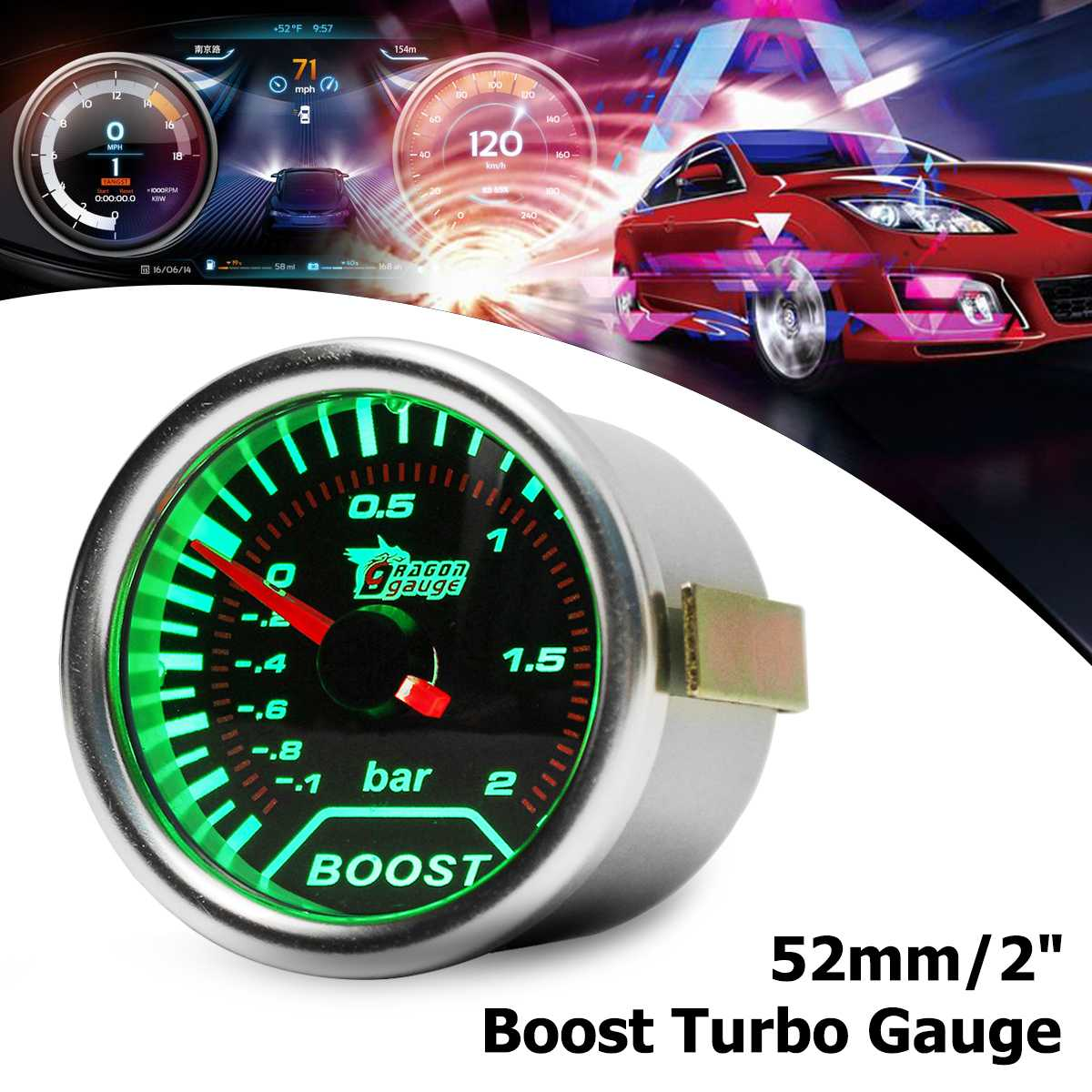 "Universal 52mm 2/"" LED Car Turbo Boost Pressure Gauge Meter Smoked Dials Psi 12v"