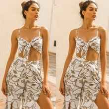 Women's 2019 New Floral Print Vintage Boho Playsuit Deep V Neck Summer Lady Long Pants Set Two Piece Outfits plunge v neck floral print playsuit with long sleeves