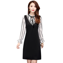 2019 spring new Korean fashion splicing false two loose casual dress O neck long sleeve vestido outfit big size L -5XL