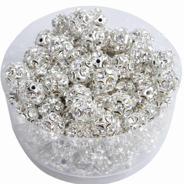 Około 6/8/10MM okrągły Mix kolor metalowy koralik z cyrkonią dla naszyjnik bransoletki akcesoria do wyrobu biżuterii hurtownie prezent na boże narodzenie