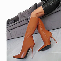 LAIGZEM Women High Heel Knee High Boots Stiletto Tall Boots Faux Leather Zip Shoes Woman Botines Mujer Larger Big Size 34 47