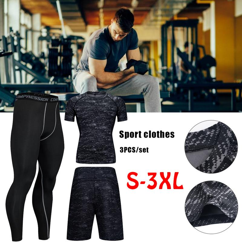 Sportswear Men 3-Piece Set Short Sleeve Quick-Drying Compression Tights Basketball Running Athletic Wear For Men Fitness Clothes