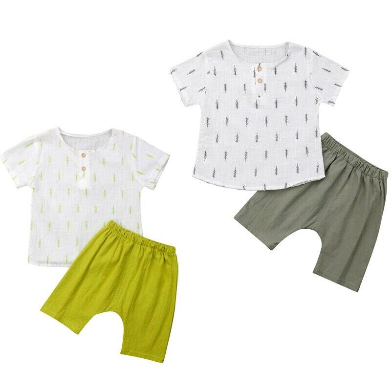 1-6y Sommer Kleinkind Kinder Baby Boy Kleidung Set Kurzarm Baumwolle T-shirt Tops Harem Shorts Hose 2 Pcs Jungen Kleidung