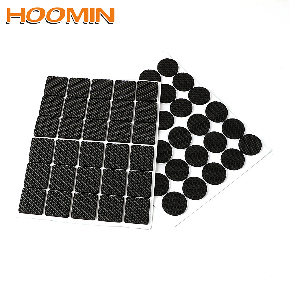 HOOMIN Anti-skid Self Adhesive Furniture Leg Feet Mat Round Square Sofa Chair Leg Sticky Pad 30pcs Rubber Table Feet No-Slip Pad