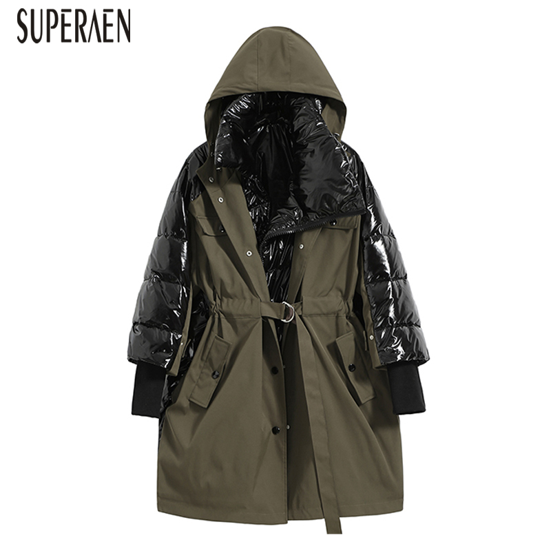 SuperAen Winter New 2018 Warm   Parkas   Coat Women Wild Casual Fashion Hooded   Parkas   Coat Female Korean Style Thick Coat Women