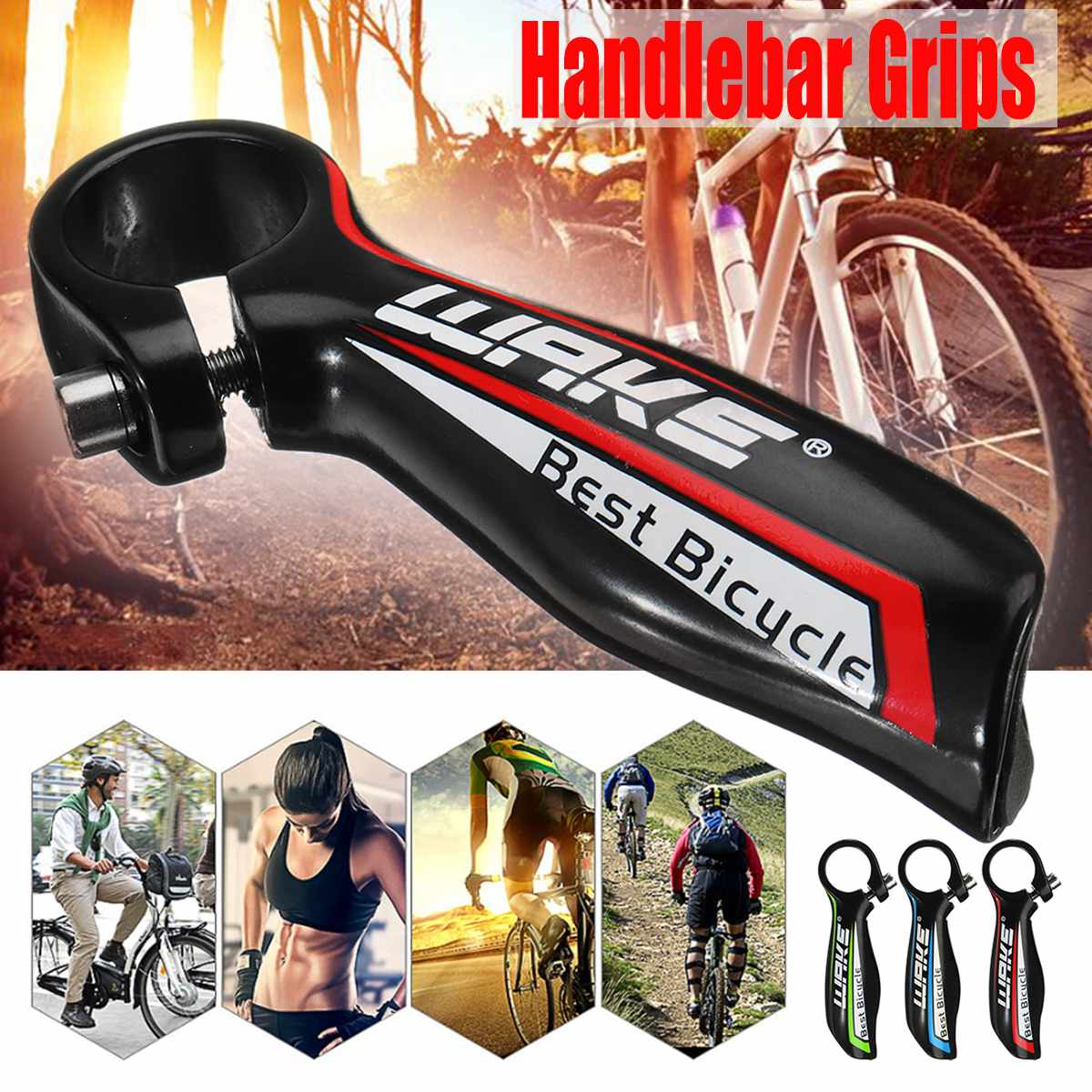 Bicycle Aluminum Handlebar End Grips Fit 22.2MM MTB Mountain Bike Handle Bars
