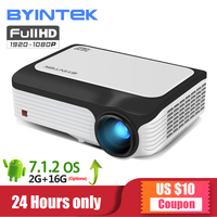 BYINTEK M1080 Smart (2 ГБ + 16 Гб) Android Wi Fi FULL HD 1080 P портативный светодиодный мини проектор 1920x1080 ЖК дисплей видео для Iphone смартфон