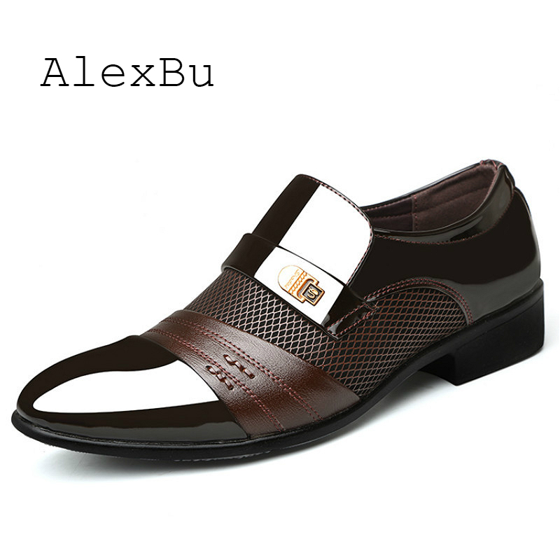 Alexbu 2019 Leather Shoes Man Dress Office Wedding Shoe Mesh Breathable Pointed Toe High Quality Classic Men Shoes Size 38-48 Soft And Antislippery Men's Shoes