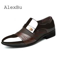 AlexBu 2019 Leather Shoes Man Dress Office Wedding Shoe Mesh Breathable Pointed Toe High Quality Classic Men Shoes Size 38 48