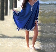 Summer Women Cotton Beach Dress Casual Cover Up Embroidery Solid Kaftan Batwing Sleeve Loose Holiday