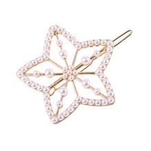 New Arrival Luxury Pearls Hairpins For Women Girls Golden Alloy Flower Shape Hairgrips Rhinestone Wedding Hair Clips Access