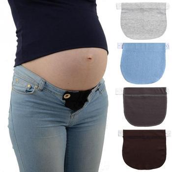 Pas macierzyński elastyczny przedłużacz miękkie spodnie przedłużenie pasa klamra przycisk wydłużenie kobiety w ciąży ciąża regulowana tanie i dobre opinie Favolook Natural color Legginsy HI18650 WOMEN Rajstopy Denim COTTON spandex Stałe Macierzyństwo