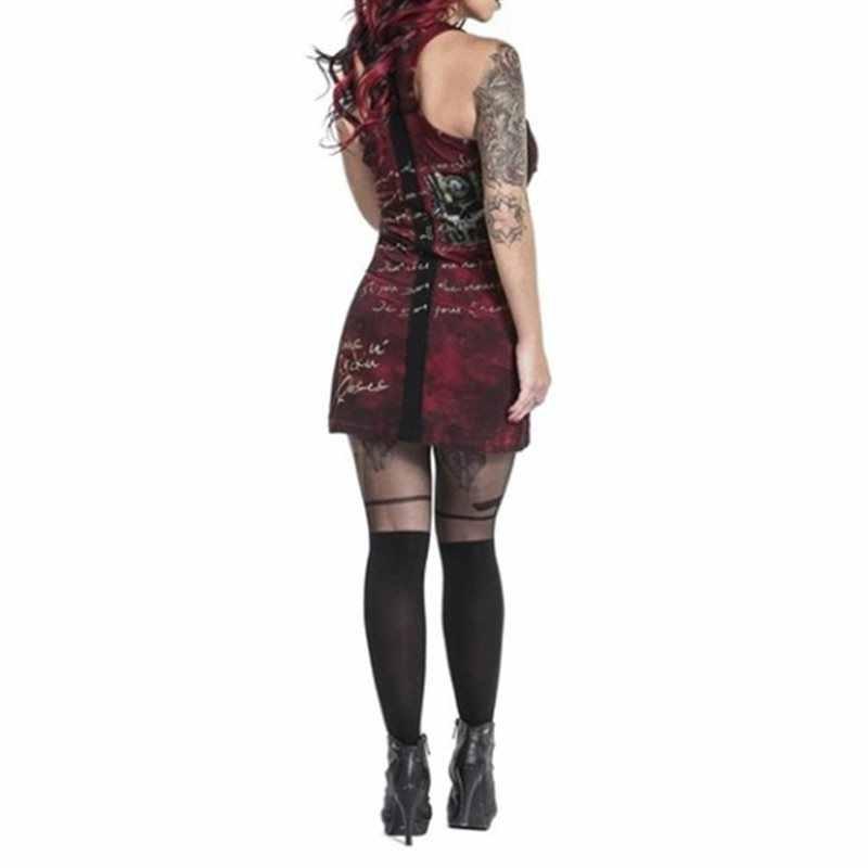 Летнее сексуальное облегающее платье для женщин, Клубная одежда Мини в готическом стиле, с принтом черепа, в стиле панк, стрейчевое, размера плюс, 5XL, красные повседневные платья с повязкой