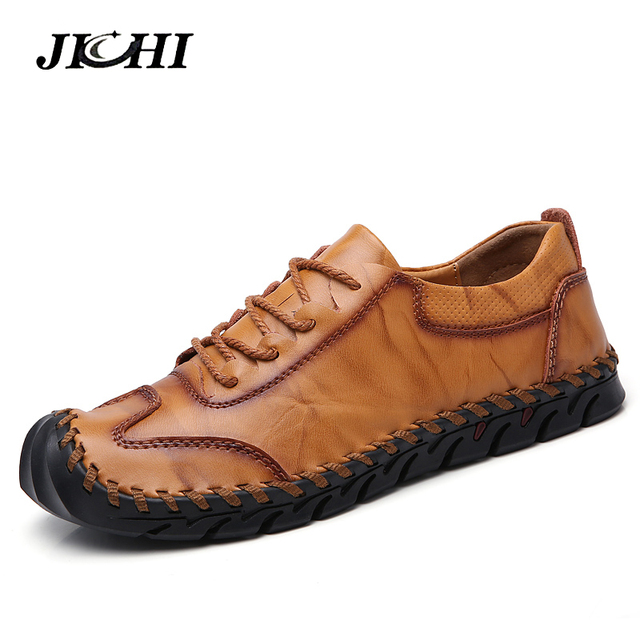 2019 Fashion Handmade Men Shoes Plus Size 38-46 Comfort Mens Loafers High Quality Soft Casual Leather Shoes Man Flats Moccasins