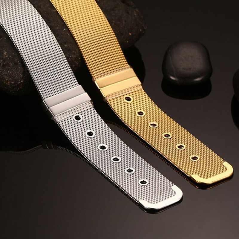 Vnox 男性の時計バンドリンクストラップ女性 12/18 ミリメートル幅のステンレス鋼メッシュ pulsera masculina 長さ調節可能