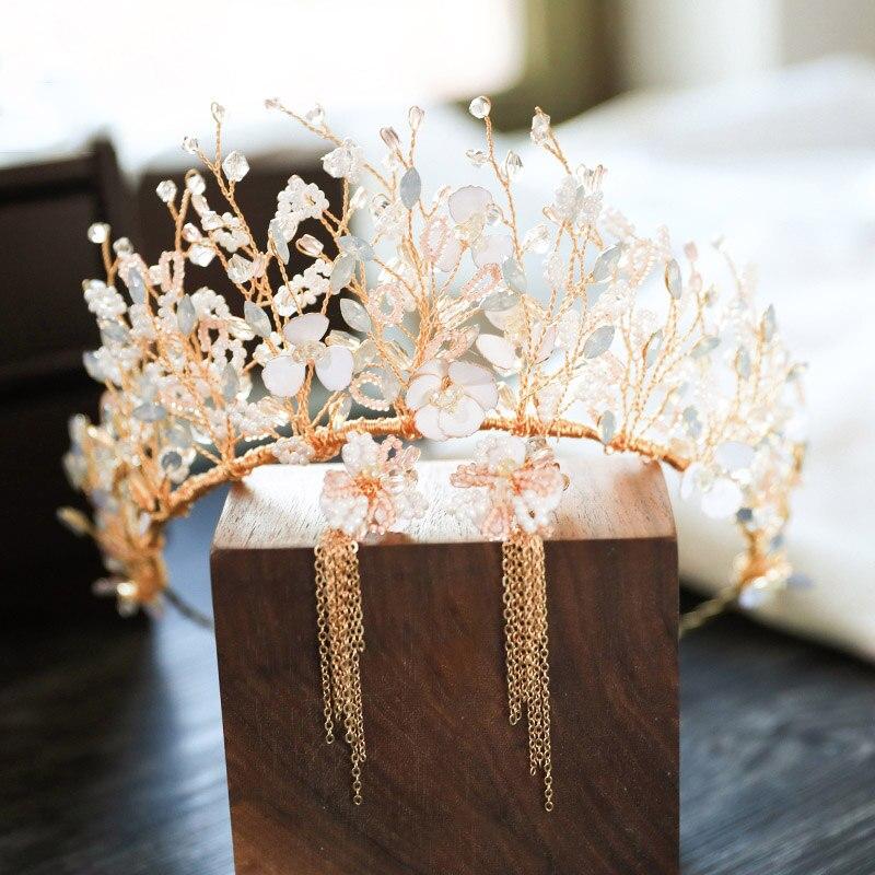 Korean Bridal Hair Accessories Wedding Crown Headpiece Tiara Set Crystal Metal Gold Headband Hairband Bride Head Jewelry Women