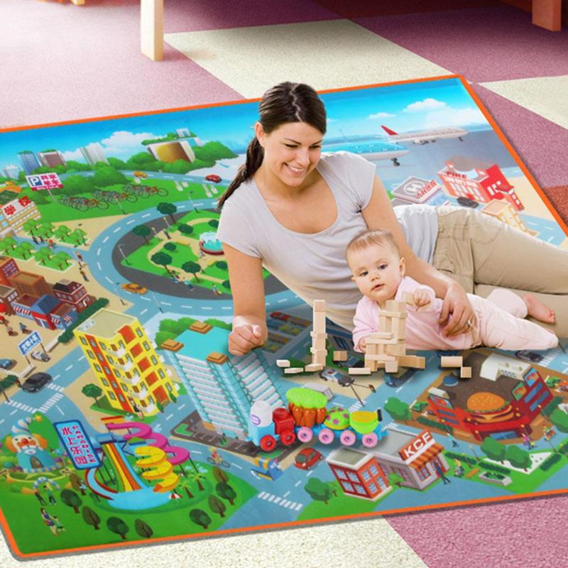 120CM Children Carpet Outdoor Toy Mat Baby Play Mat Kids Route Map City Town Cognition Crawling Pad  Waterproof Foldable Climbin