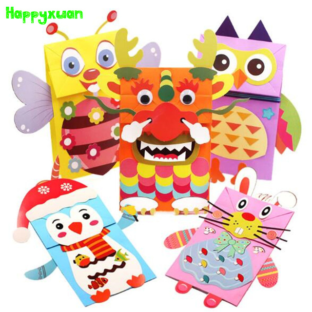 1c6f6f2c5 Happyxuan 5 unids/lote Papel Animal De la Historieta Bolsa de Mano  Marioneta Muñecas Niños