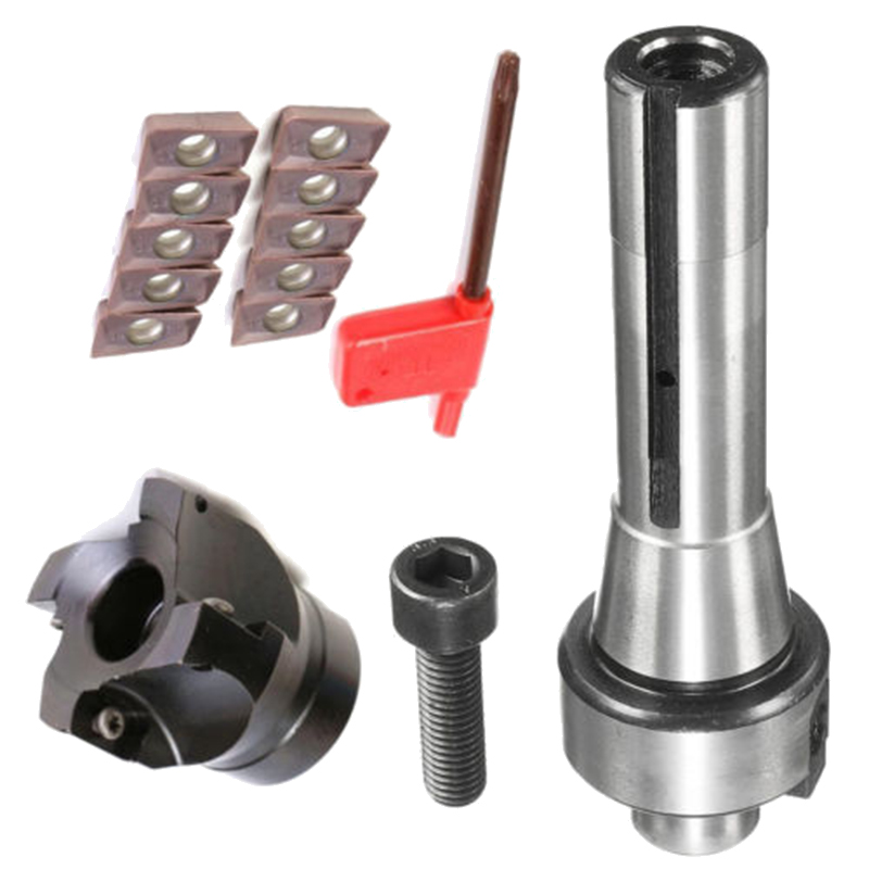 10pcs APMT1604 Inserts High Hardness Blades + R8 Shank Arbor + 400R 50MM Face End Mill Cutter Kit with T15 wrench free shiping1pcs aju c10 10 100 10pcs ccmt060204 dia 10mm insertable bore drilling end mill cutting tools arbor for ccmt060204