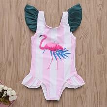 Baby girl One-Piece Suits New Cute Cartoon flamingo Print Swimwear Children Swimming Clothes Ruffles SwimSuits