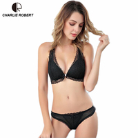 CR Front Closure Bra Intimates 2017 Women Sexy Lingerie Lace Y line Straps Hollow Out Panties Bra set Underwear Free Shipping