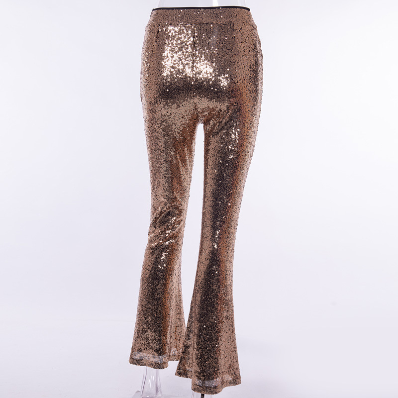 a5f941342c1f2 Colysmo Sequin Pants Women Sparkle Metallic High Waist Wide Leg Pants Gold  Trousers Women Silver Flared Pants Black Party Wear-in Pants & Capris from  ...