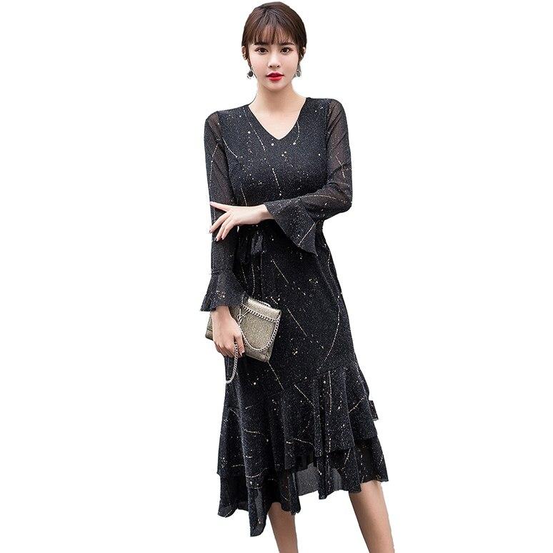 Agressif 2019 Nouveau Printemps Mode Femmes Robe Flare Manches V-cou Socialite Chaud Météores Tour De Taille Queue Robes Noir Or 8106
