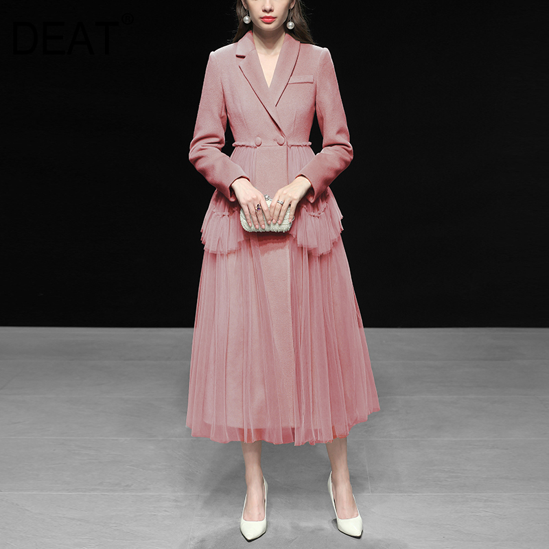 DEAT 20109 New Spring Fashion Women Clothing Turn-down Collar Full Sleeves Mesh Patchwork Asymmetrical Jacket Styles Dress High