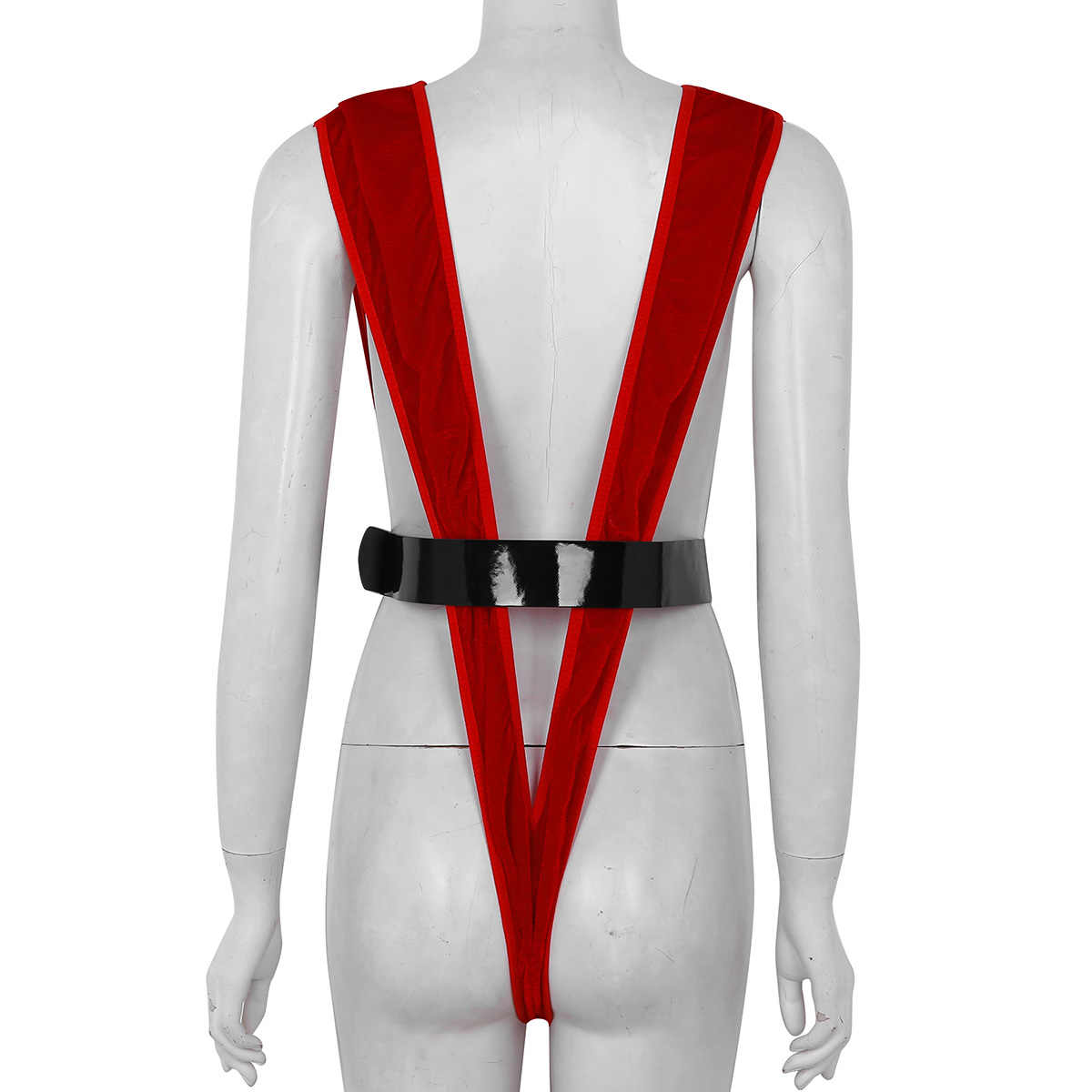 c45c0bc2410 ... Women Deep V Neck Bodysuit Red One Piece Swimsuit Lady Soft Velvet Sexy  Thong Santa Exposure ...