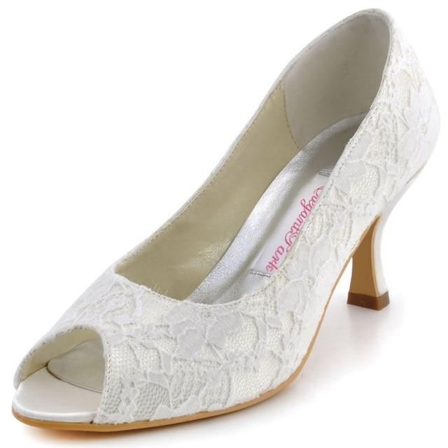 cbc5b0f31687 Ivory Woman Shoes Wedding Bridal Mid Heels EP11013 Peep Toe Lace Lady Bride  Bridesmaids Party Evening pumps